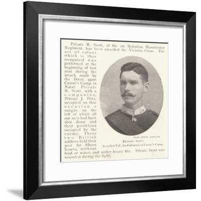 Private Scott, Awarded Vc for Gallantry at Caesar's Camp--Framed Giclee Print