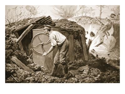 Private Torrance Pumping Air into a Mine under Heavy Fire (Litho)-Alfred Pearse-Giclee Print