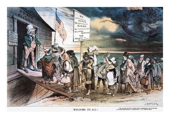 Pro-Immigration Cartoon-Joseph Keppler-Giclee Print