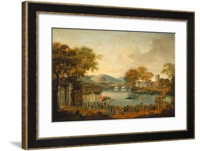 Procession by a Lake-Qing Dynasty Chinese School-Framed Giclee Print