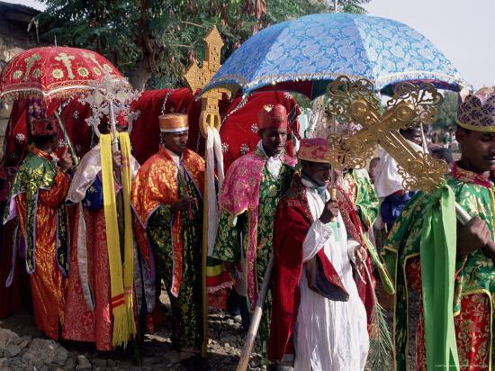 Procession for Christian Festival of Rameaux, Axoum (Axum) (Aksum), Tigre Region, Ethiopia, Africa-Bruno Barbier-Photographic Print