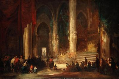 Procession in a Cathedral, C.1860-Eugenio Lucas velazquez-Giclee Print