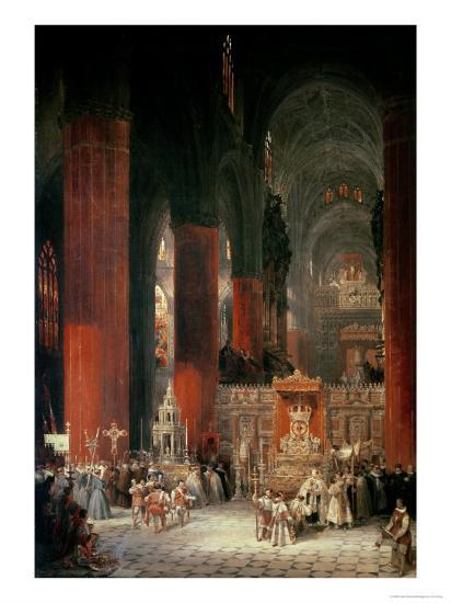 Procession in Seville Cathedral, 1833-David Roberts-Giclee Print