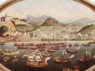Procession of Boats on the Water in Front of Lazares Hospital--Giclee Print