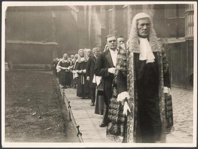 Procession of Judges at Westminster Abbey, a Custom before the Opening of the Law Courts--Photographic Print