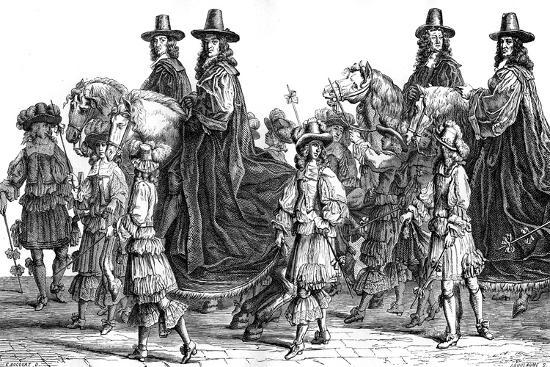 Procession of Magistrates, Paris, 17th Century (1882-188)-J Guillaume-Giclee Print