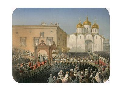 Procession of Of Tsarina Alexandra Feodorovna to the Cathedral of the Dormition, Moscow, 1856-Mihály Zichy-Giclee Print