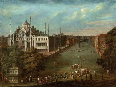 Procession of the Grand Vizier on the Hippodrome Square with the Sultan Ahmed Mosque, 1737-Jean-Baptiste Vanmour-Giclee Print