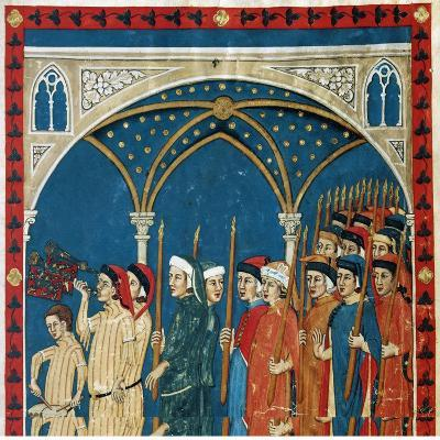 Procession of the Notaries Through the Streets of Perugia for the Feast of Candlemas--Giclee Print