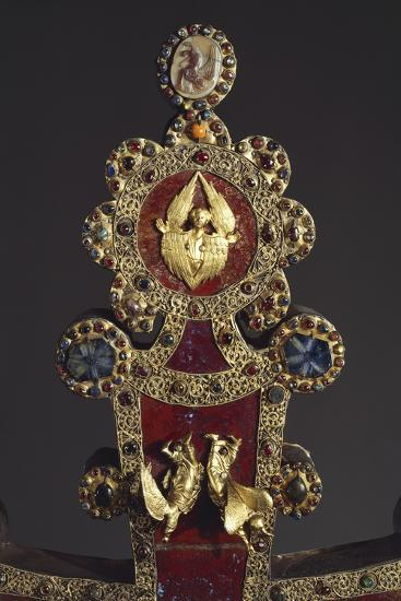 Processional Cross in Red Jasper, Gold and Gems, Angels, 1296--Giclee Print
