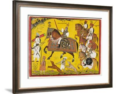 Processional Portrait of Prince Bhawani Sing of Sitamau, 1855 (Gouache, Silver, and Gold on Paper)-Pyara Singh-Framed Giclee Print