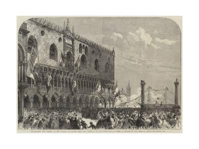 Proclaiming the Result of the Voting at Venice from the Balcony of the Doge's Palace--Giclee Print