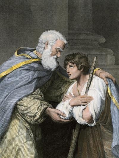 Prodigal Son Returns Home and Asks His Father's Forgiveness, a Parable in the Biblical Book of Luke--Giclee Print