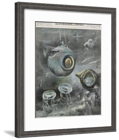 Professor Beebe in His Bathysphere 1000 Metres Below the Surface of the Atlantic Ocean-Aldo Molinari-Framed Giclee Print