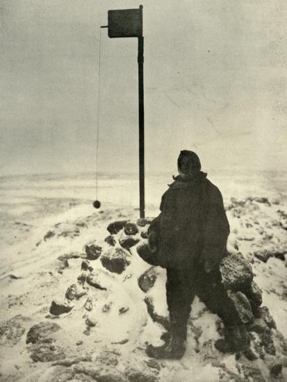 'Professor David Standing By Mawson's Anemometer', c1908, (1909)-Unknown-Photographic Print