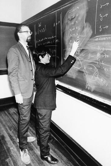 Professor Harry Dym, Works with His 12 Year Old Student, Matthew Marcus at New York City College--Photo