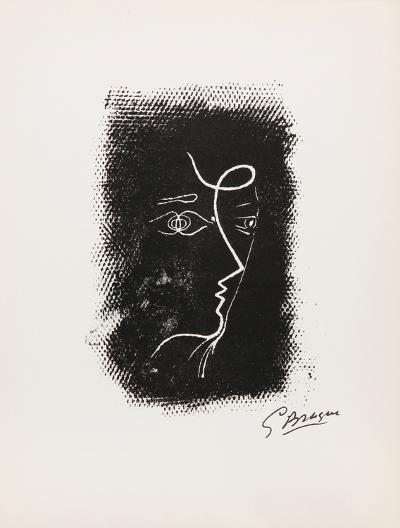 Profil de Femme from Souvenirs de Portraits d'Artistes. Jacques PrŽvert: Le Coeur-Georges Braque-Collectable Print