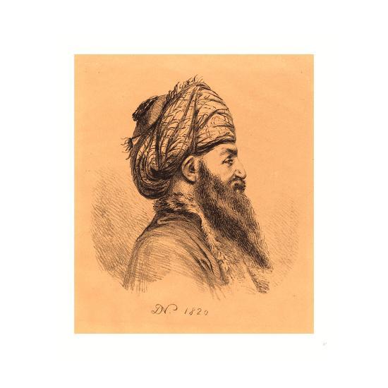 Profile Head of Oriental in Turban, 1820, Lithograph-Dominique Vivant Denon-Giclee Print