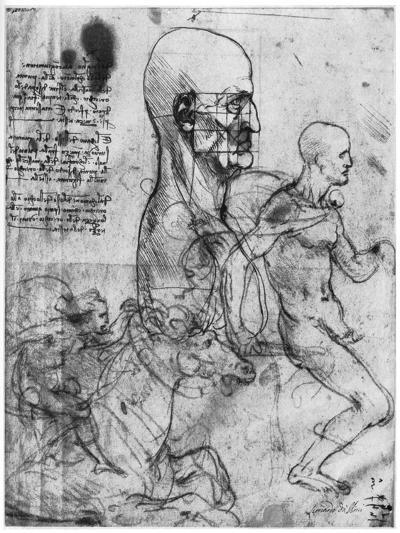 Profile of a Man's Head and Studies of Two Riders, C1490 and C1504-Leonardo da Vinci-Giclee Print