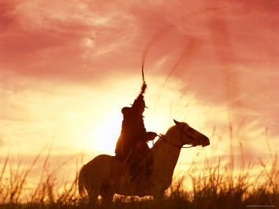 Profile of a Stockman on a Horse Against the Sunset, Queensland, Australia, Pacific-Mark Mawson-Photographic Print