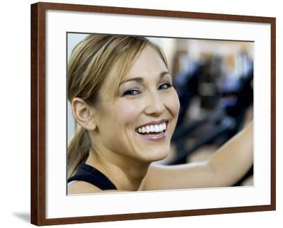 Profile of a Young Woman Smiling--Framed Photographic Print