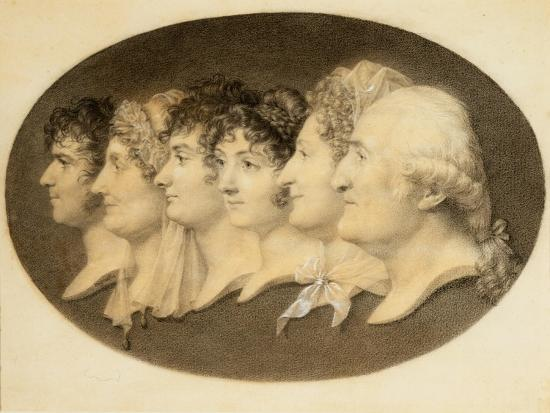 Profile Portrait of Augustin and His Family-Jean-Baptiste-Jacques Augustin-Giclee Print