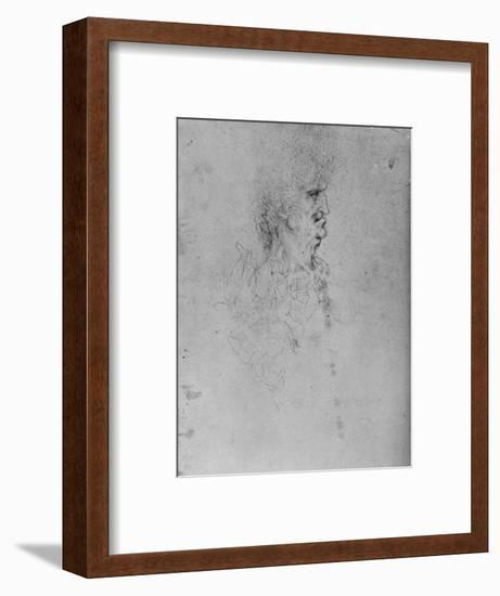 'Profile to the Right of an Old Man', c1480 (1945)-Leonardo da Vinci-Framed Giclee Print