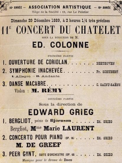 Program for Concert Conducted by Edvard Grieg Giclee Print by   Art com