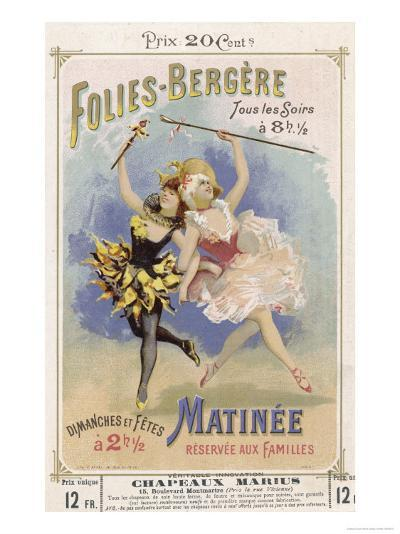 Programmes a Programme Cover for the Famous Folies Bergere Cabaret in Paris--Giclee Print