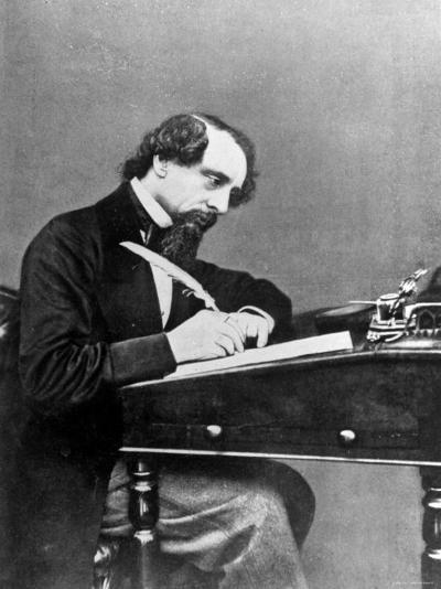 Prolific English Novelist Charles Dickens Seated Writing with a Quill Pen--Premium Photographic Print