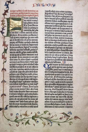 Prologue Folio with Gold and Green Letter 'F', and Border of Leaves, Flowers, Vines and Bird, 1455--Giclee Print