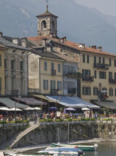 Promenade Cafes by the Old Harbour, Cannobio, Lago Maggiore, Switzerland, Europe-James Emmerson-Photographic Print