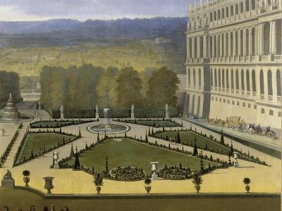 Promenade de Louis XIV en vue du Parterre du Nord dans les jardins de Versailles vers 1688-Etienne Allegrain-Giclee Print