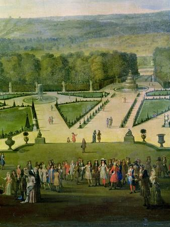 Promenade of Louis XIV by the Parterre Du Nord, Detail of Louis and His Entourage, circa 1688-Etienne Allegrain-Giclee Print