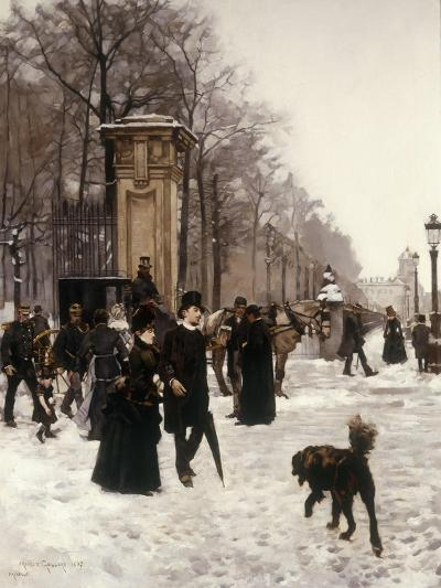 Promenade on a Winter Day, Brussels, 1887-Frans Gaillard-Giclee Print