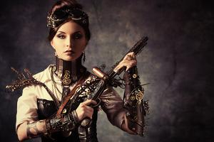 Portrait Of A Beautiful Steampunk Woman Holding A Gun Over Grunge Background by prometeus