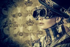 Portrait Of A Beautiful Steampunk Woman Over Vintage Background by prometeus