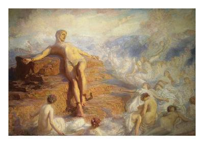 Prometheus Consoled by the Spirits of the Earth-George Spencer Watson-Giclee Print