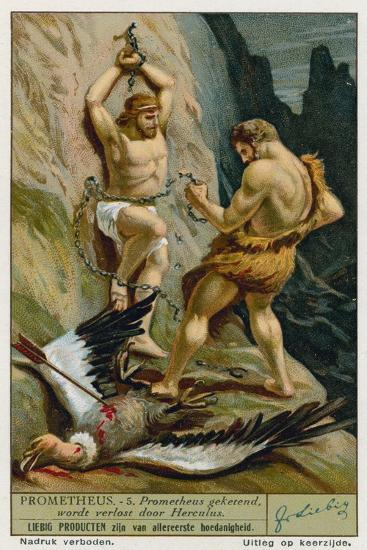 Prometheus Relaeased from His Chains by Hercules--Giclee Print