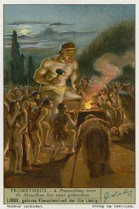 Prometheus Teaching Man How to Use Fire