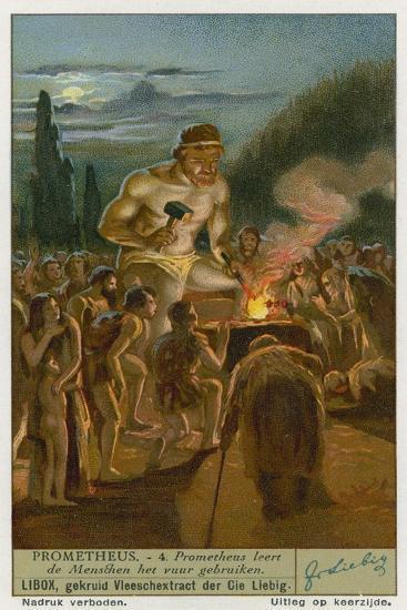 Prometheus Teaching Man How to Use Fire--Giclee Print