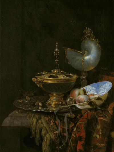 Pronk Still Life with Holbein Bowl, Nautilus Cup, Glass Goblet and Fruit Dish, 1678-Willem Kalf-Giclee Print