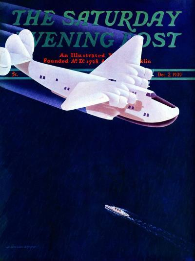 """""""Propeller Plane,"""" Saturday Evening Post Cover, December 2, 1939-H. Wilson Smith-Giclee Print"""
