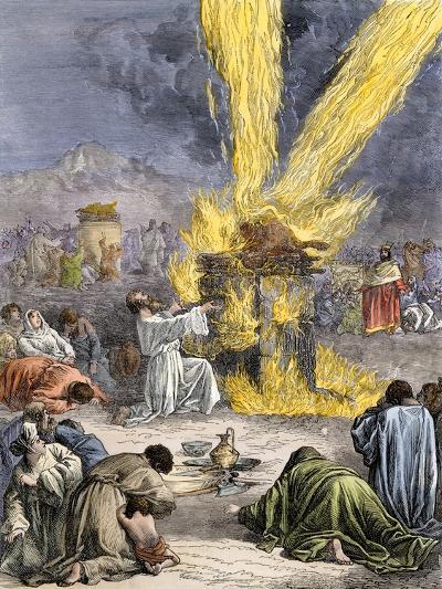 Prophet Elijah Invoking Yahweh over Baal's Priests on Mount Carmel--Giclee Print