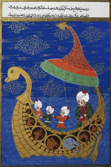 Prophet Noah and the Ark, Ottoman Miniature, Manuscript. Turkey, 16th Century--Giclee Print