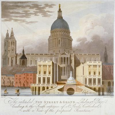 Proposed Riverfront Access to St Paul's Cathedral, City of London, 1826-GS Tregear-Giclee Print
