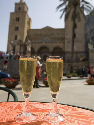 Prosecco Wine on Cafe Table, Cathedral Behind, Piazza Duomo, Cefalu, Sicily, Italy, Europe-Martin Child-Photographic Print