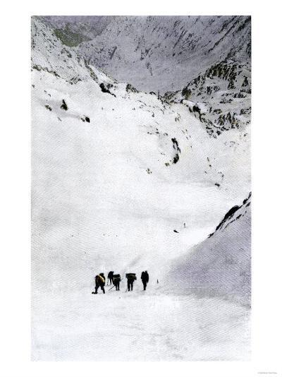 Prospectors Nearing Summit of the Chilkoot Pass during the Alaska Gold Rush, c.1897--Giclee Print