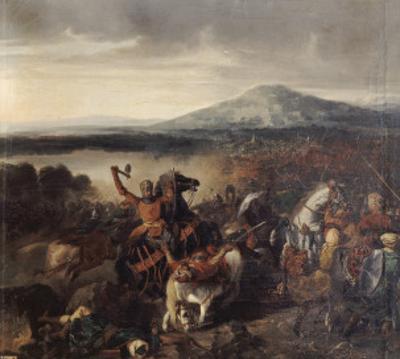 Combat de Ceramo en Sicile, 1061, victoire de Roger Ier de Sicile sur 35.000 Sarrasins by Prosper Lafaye
