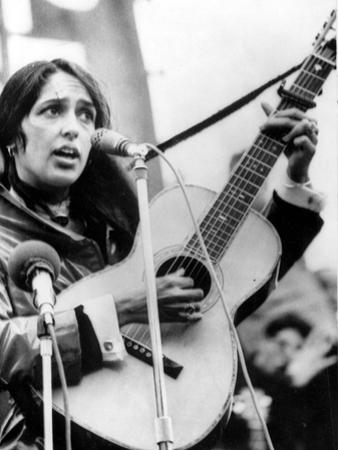 Protest Folk Singer Joan Baez Performing in 1965